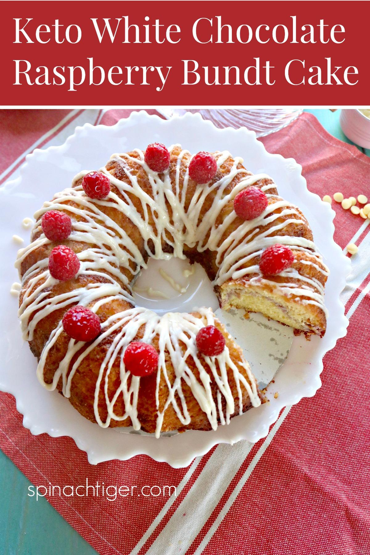 Keto White Chocolate Raspberry Bundt Pan with Tips on how to make a bundt cake that doesn't stick. #ketoraspberrywhitechocolatebundt #ketobundt #ketocake #ketodessert #glutenfree #paleo #swerve #choczero #sugarfreewhitechocolate via @angelaroberts