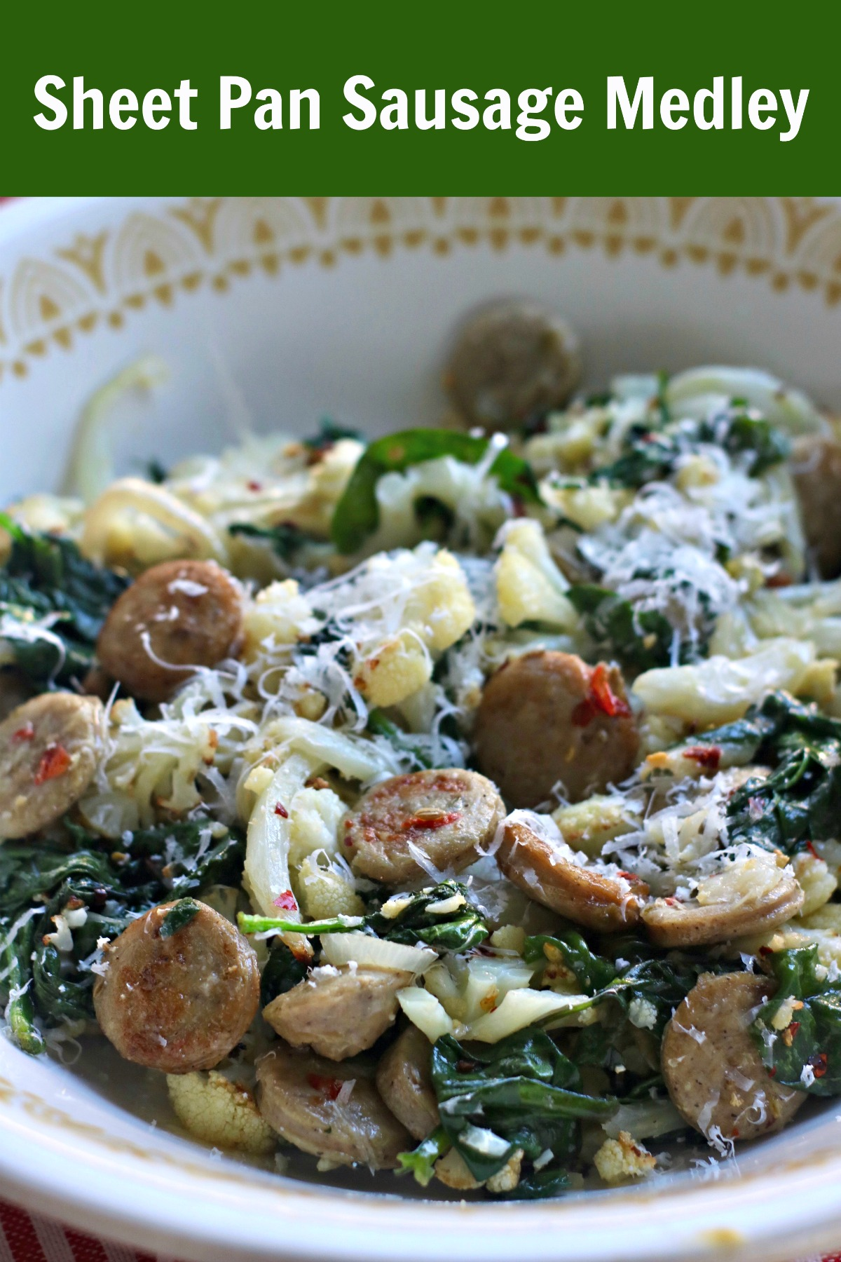 #ad Easy Sheet Pan or Air fryer Dinner with Al Fresco Italian Chicken Sausage, spinach, onion, and cauliflower. Made in twenty mintues. #ketodinner #easydinner #chickensausage #Italiansausagerecipe #Easydinnerrecipe #lowcarbdinner #ketodinner via @angelaroberts