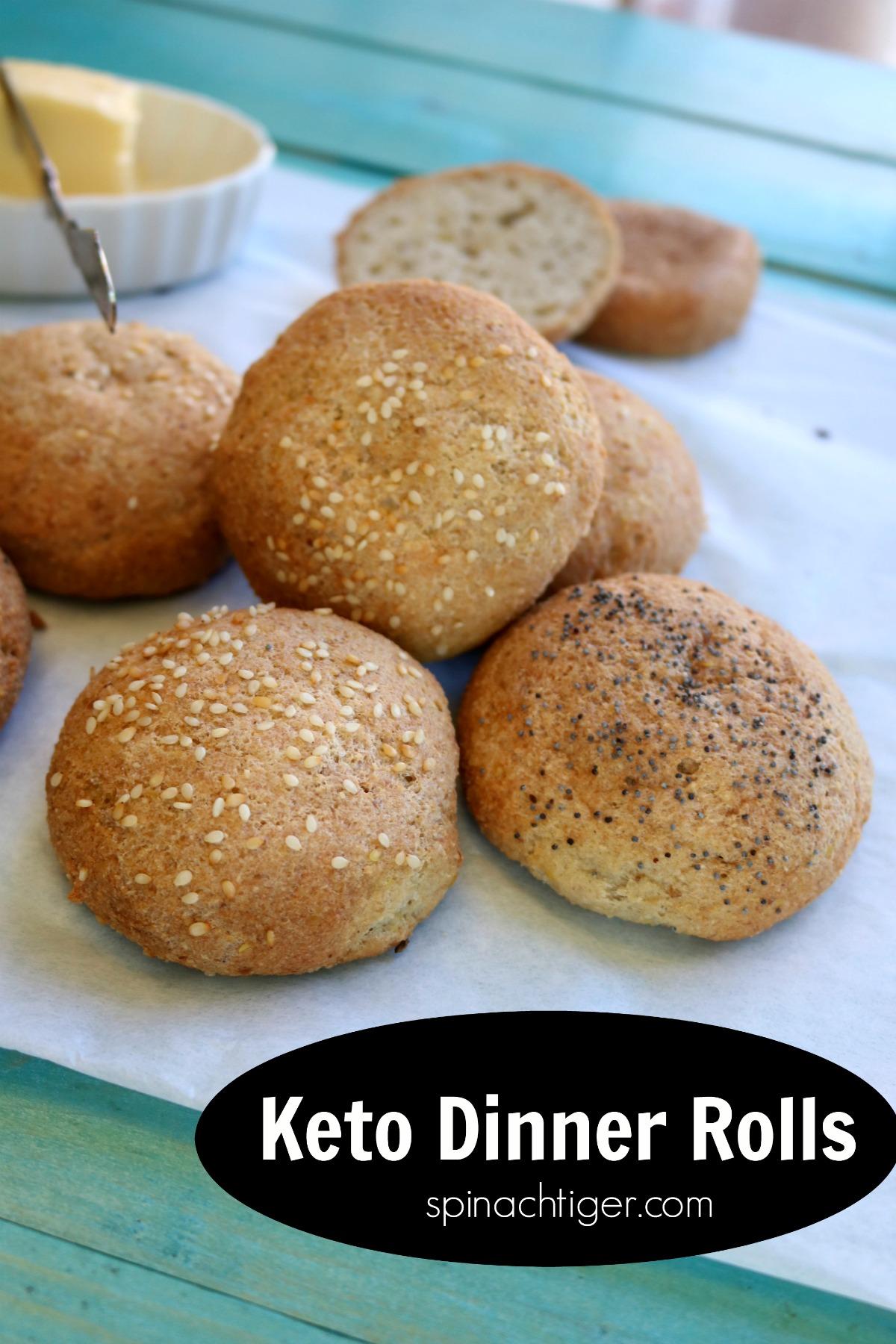 Keto dinner rolls soft and pliable making these the best rolls anywhere. Taught in my keto baking classes #ketodinnerrolls #ketobread #grainfreedinnerrolls #spinachtiger via @angelaroberts