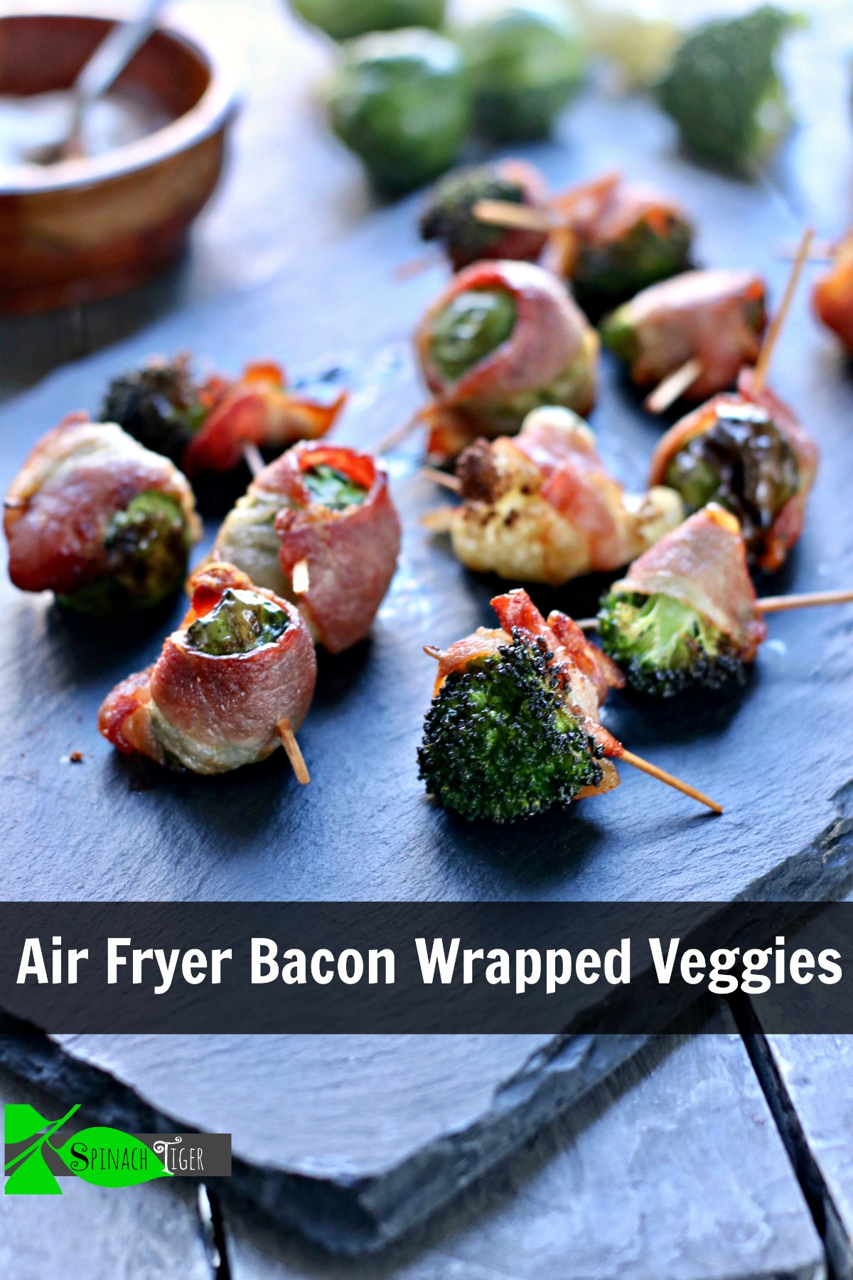 Made in Air Fryer, bacon wrapped veggies, #brusselssprouts #broccoli #cauliflower. Easy #ketorecipe #gamedayketorecipe #baconrecipe #airfryerrecipe.  via @angelaroberts