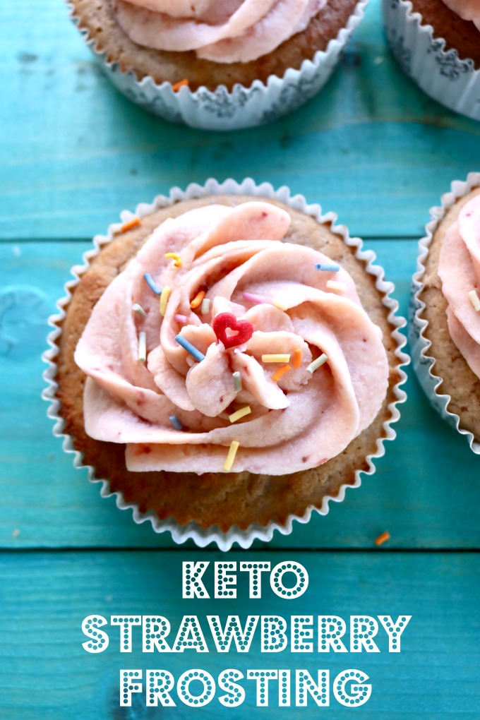 Low Carb, Keto Strawberry frosting made with swerve confectioner's sweetener, cream cheese and butter. #ketofrosting #strawberryfrosting #lowcarbstrawberryfrosting #spinachtiger via @angelaroberts