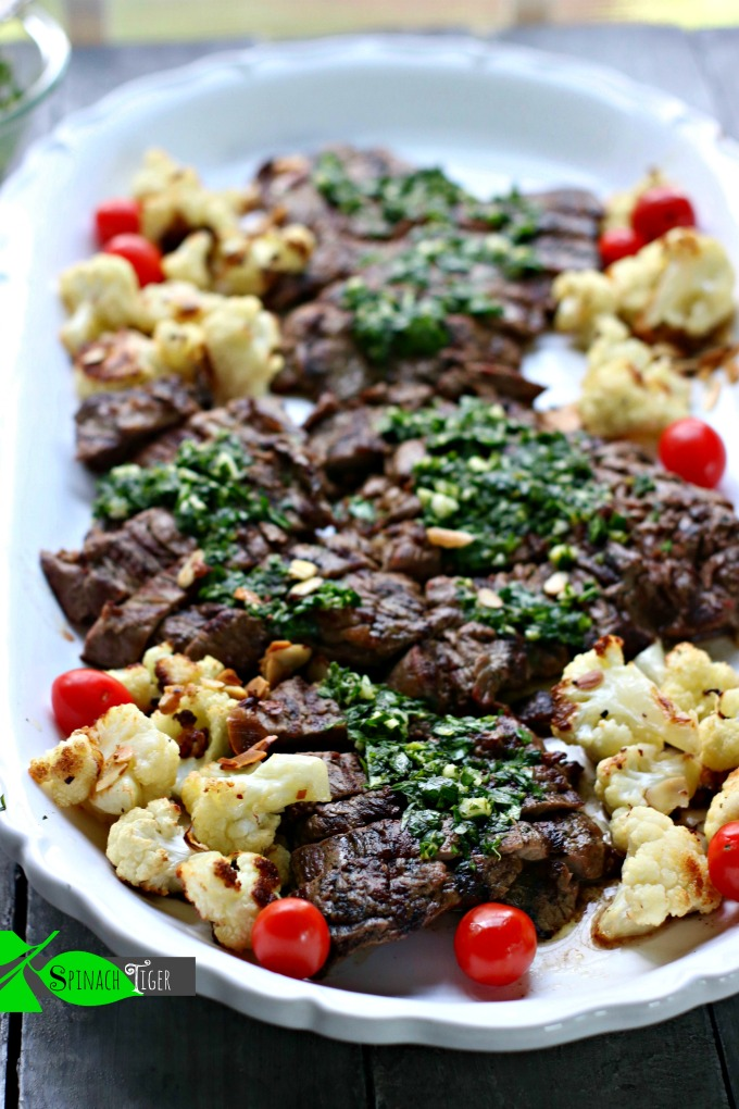 How to Make chimicurri with Grilled Skirt steak from Spinach Tiger