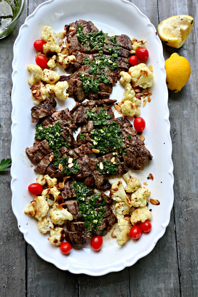 skirt steak on a platter