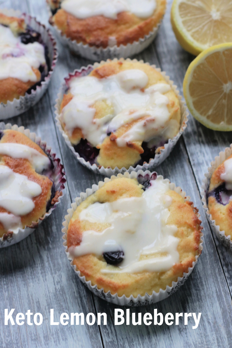 Low carb lemon blueberry muffins with lemon glaze. #ketomuffins #spinachtiger #almondflour #blueberrymuffins #lowcarbmuffins #swerve via @angelaroberts