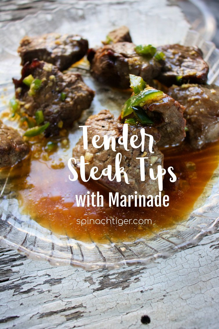 How to Grill Steak Tips, Tender Steak Tips with Marinade. #steaktips #friedpeppers #peppers #spinachtiger #grill #steak Marinade has sesame oil, coconut aminos, ginger, lime juice. via @angelaroberts