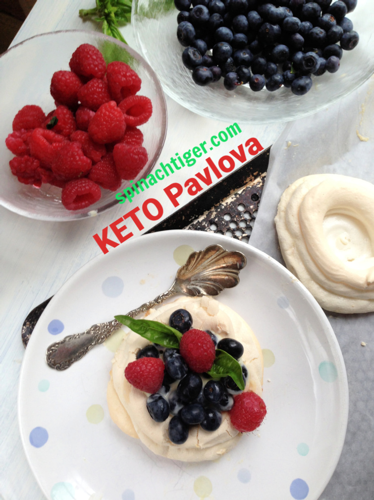 Keto Pavlova Cups for a zero carb dessert, using egg whites, Swerve Confectioner's sweetener. Fill with berries for a light dessert. #ketodessert #pavlova #sugarfree #diabetic #Swerve #eggwhites #spinachtiger via @angelaroberts