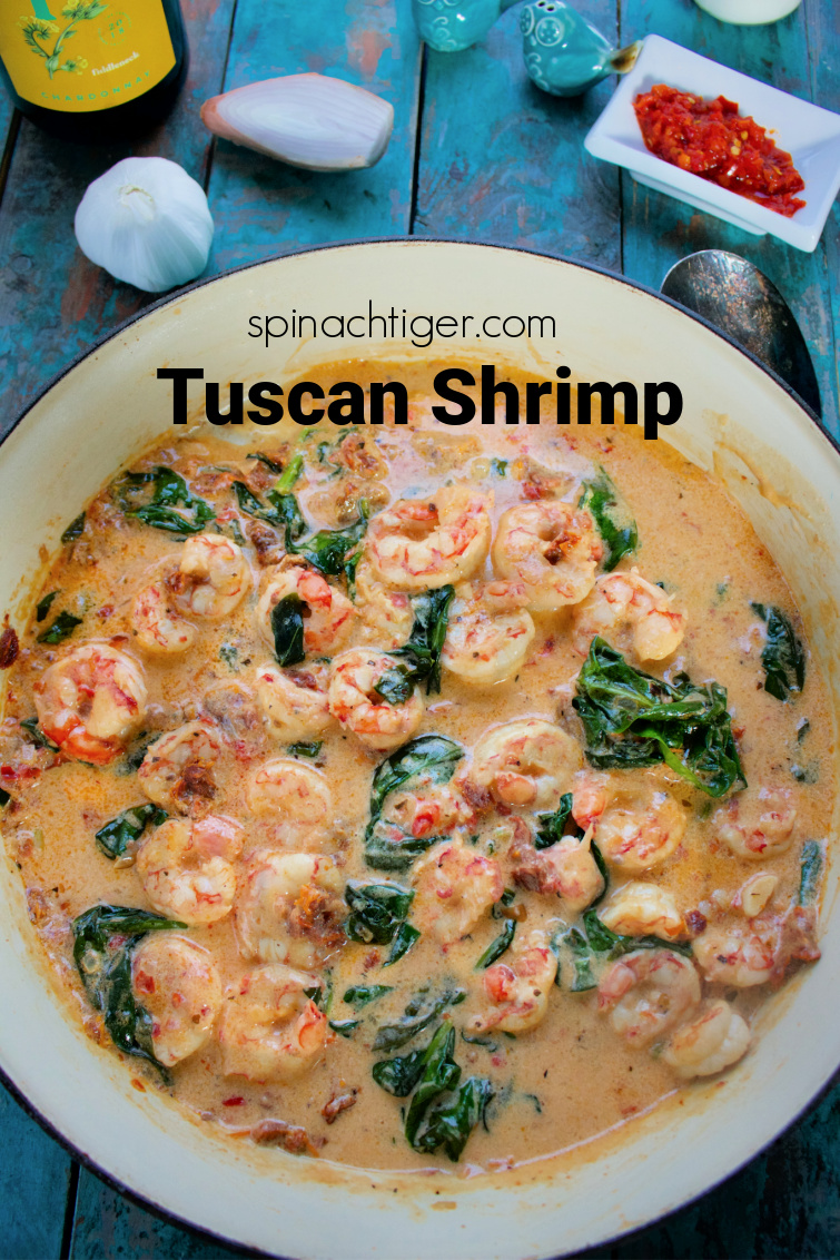 Tuscan Shrimp with a spicy twist using bomba sauce. Made in about twenty minutes #tuscanshrimp #ketoshrimp #easydinner #spinachtiger #traderjoes #bombasauce via @angelaroberts