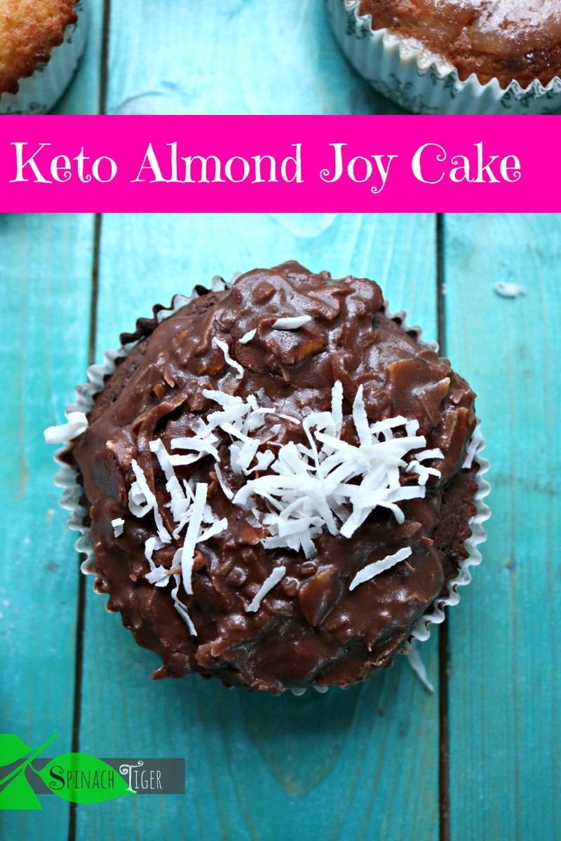 Keto Almond Joy Cupcakes recipe made in our keto bakery. Gluten free, low carb, paleo, diabetic friendly. Chocolate cake with chocolate glaze with almonds and unsweetened coconut. #ketocupcakes #almondjoycake #spinachtiger #keto #glutenfree #swerve via @angelaroberts