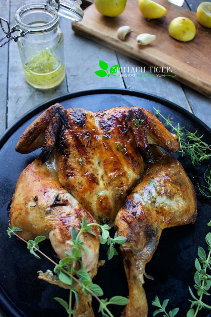 Grilled Spatchcock Chicken Greek Style