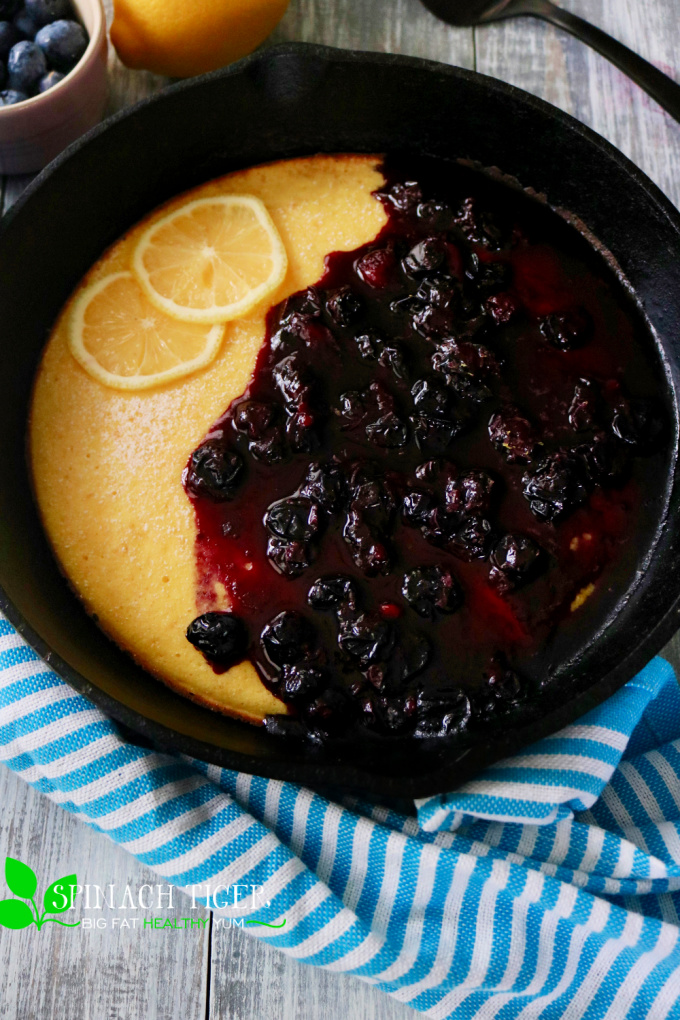 Keto Dutch Baby with Sugar Free Blueberry Compote