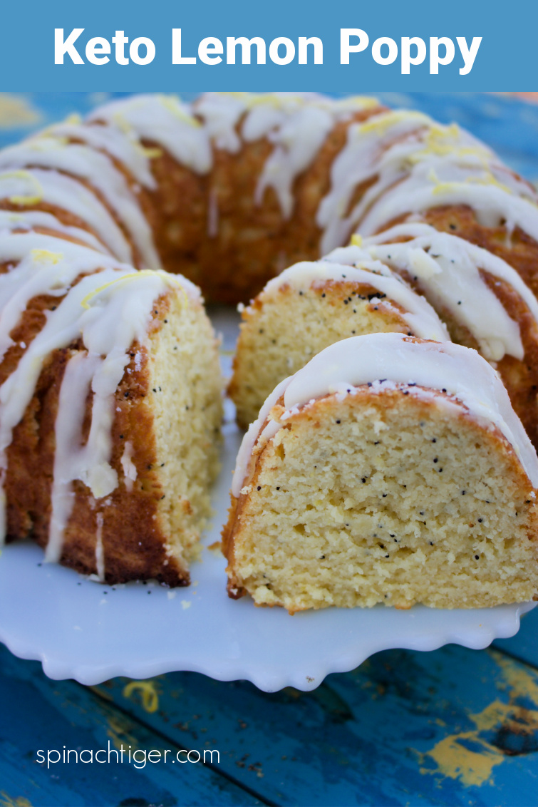 Keto Lemon Poppy Seed Bundt Cake with lots of lemon flavor. Same cake I sell in my keto bakery. Made with almond flour, coconut flour. #lemonpoppybundtcake #spinachtiger #glutenfree #lemoncake #bundtcake via @angelaroberts