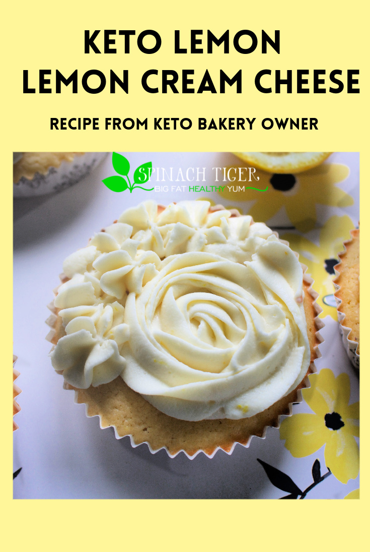 The most popular cake in the keto bakery is this keto lemon cake. Now you can make it at home. It's fluffy and the lemon cream cheese frosting is simply luscious. #ketolemoncake #ketolemondessert #swerve #ketolemoncupcakes #almondflour #coconutflour via @angelaroberts