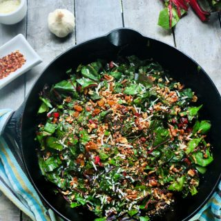 Swiss Chard with bacon and garlic