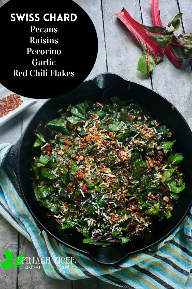 Saute Swiss Chard with olive oil, garlic, golden raisins, nuts, red chili flakes for a perfect side dish for pork or chicken. #swisschard #spinachtiger #sidedish via @angelaroberts