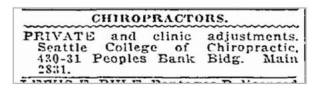 """1920 ad for the Seattle College of Chiropractic located in its first location: Peoples Bank Building. """"Main 2831"""" was likely their phone number. Ad shows room 430 AND 431.... indicating that the school was expanding from the original room 430."""