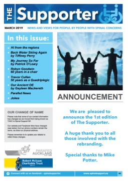 Cover of The Supporter Newsletter March 2019 - cover has 2 photos