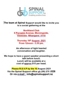 Text image of Whangarei Spinal Support NZ gathering