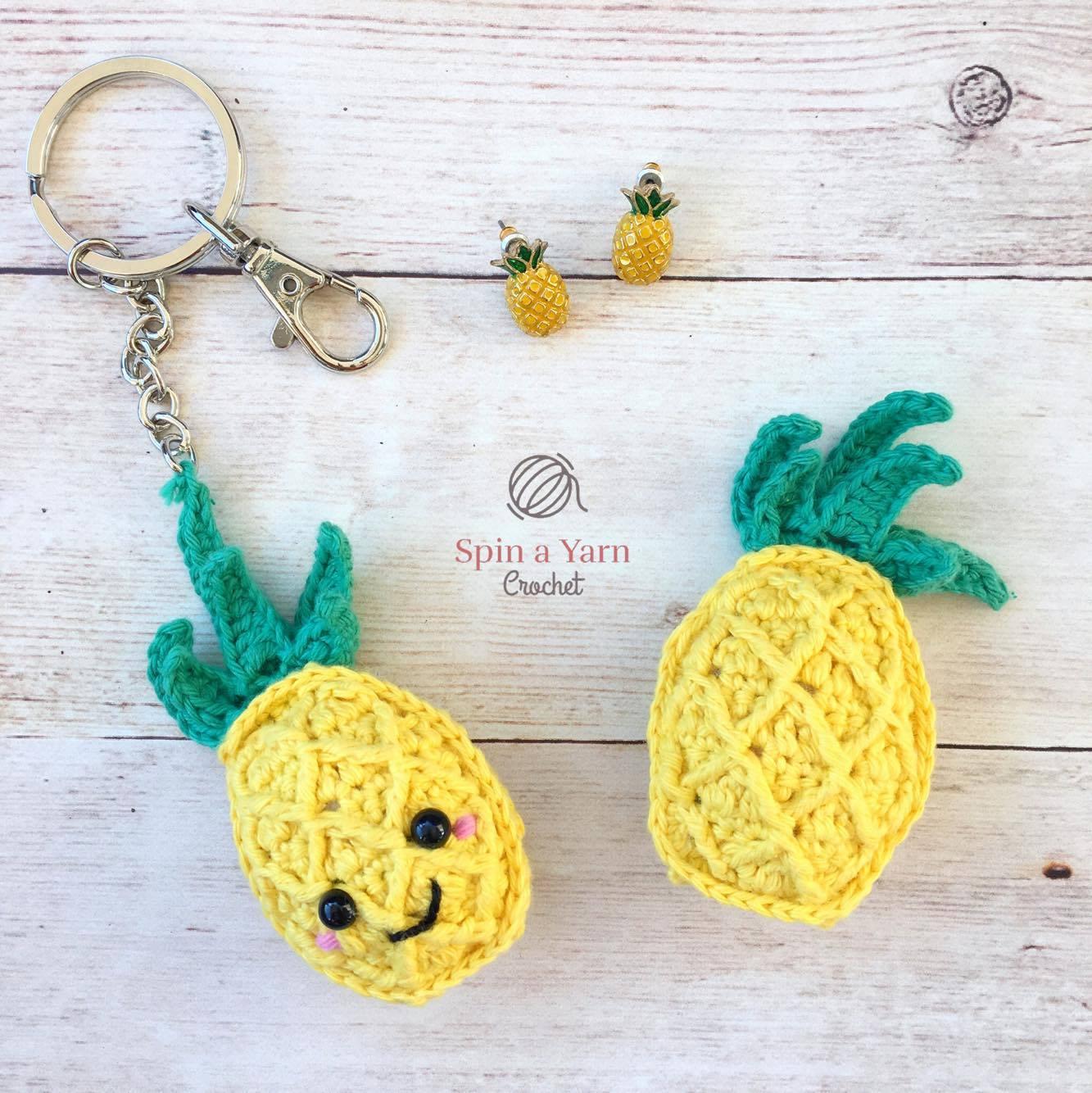 Crochet Amigurumi Keychain Free Pattern : Pineapple keychain free crochet pattern u spin a yarn crochet