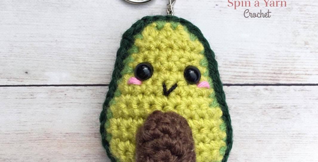 Avocado Keychain Free Crochet Pattern • Spin a Yarn Crochet