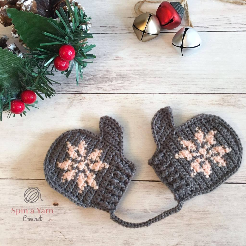 Grey Snowflake mittens