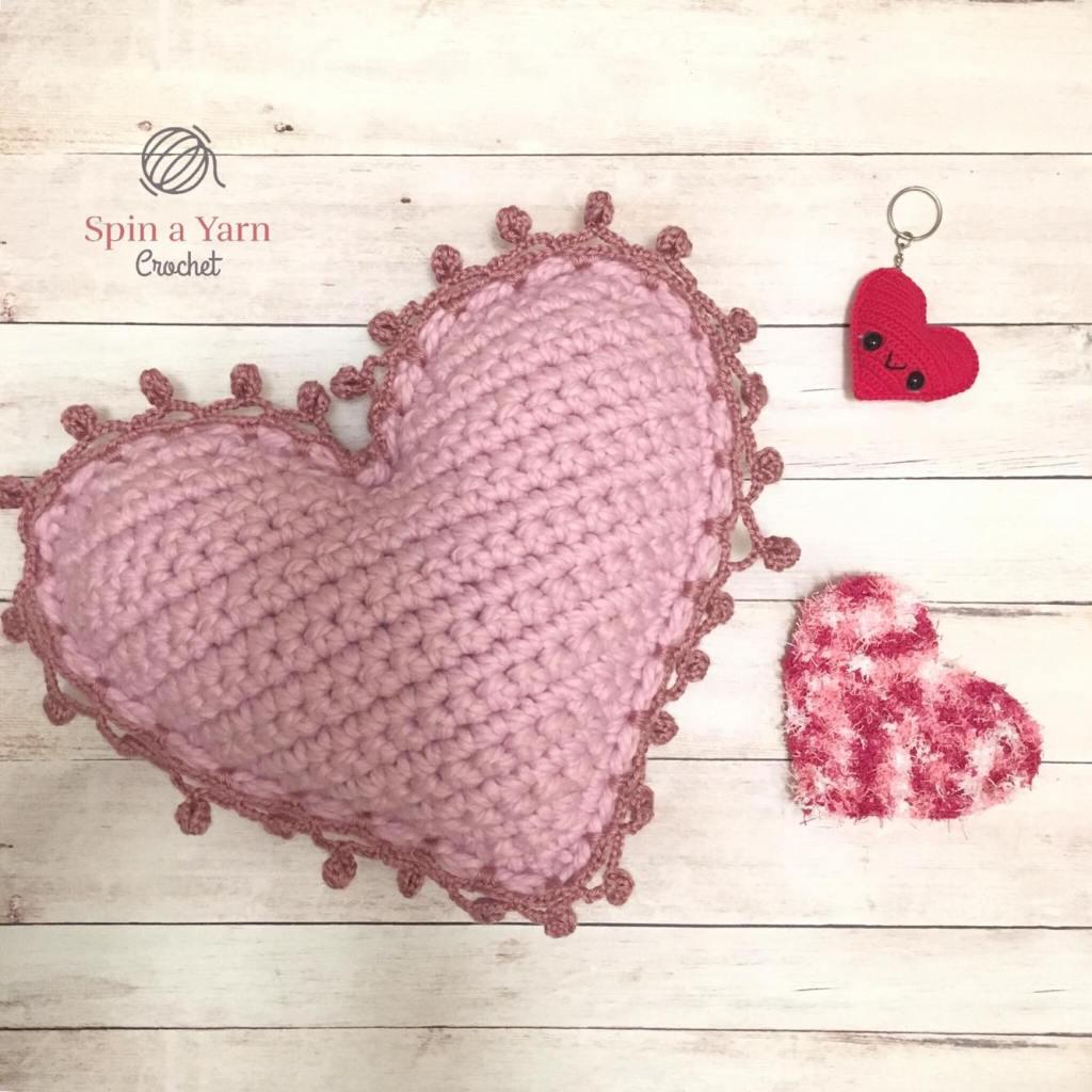 Three crocheted hearts