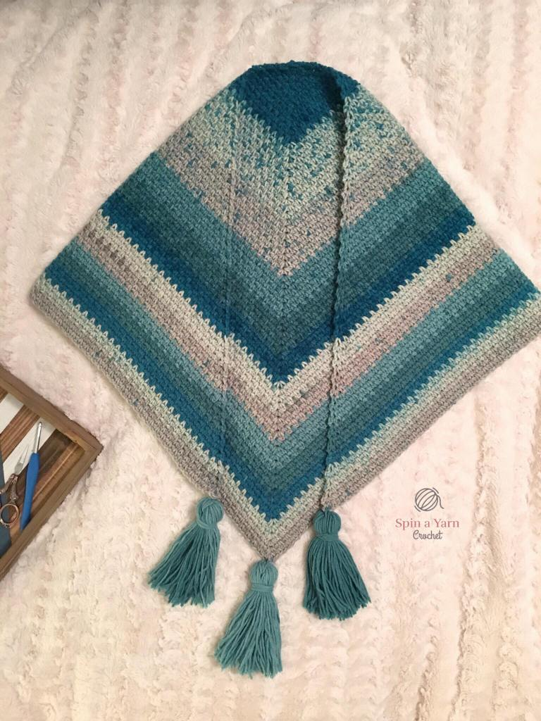 Completed Moss stitch shawl