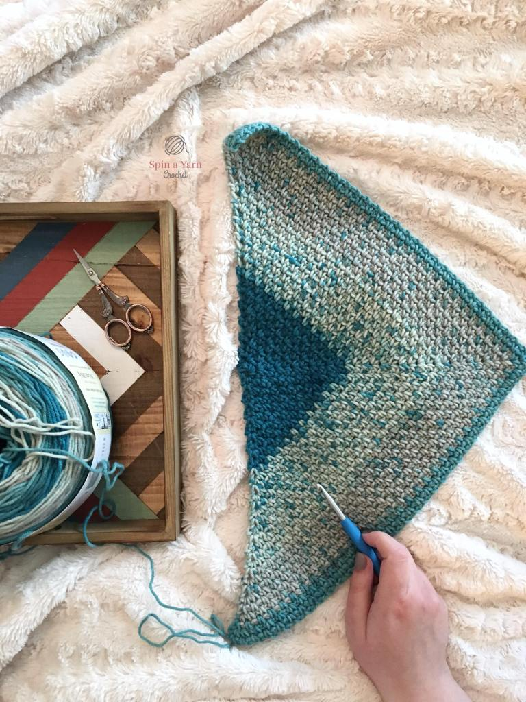 Partially completed Moss stitch shawl