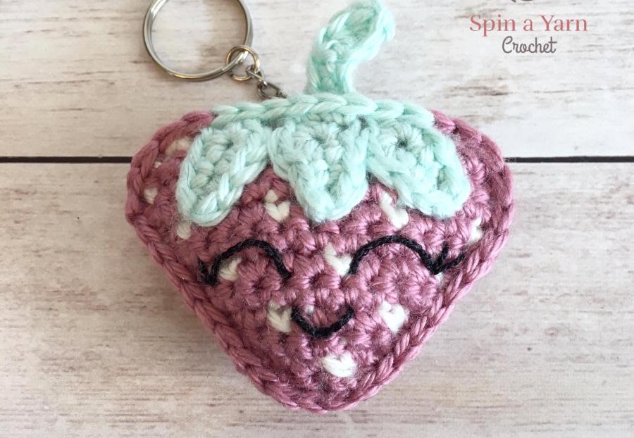 Crochet strawberry with keychain