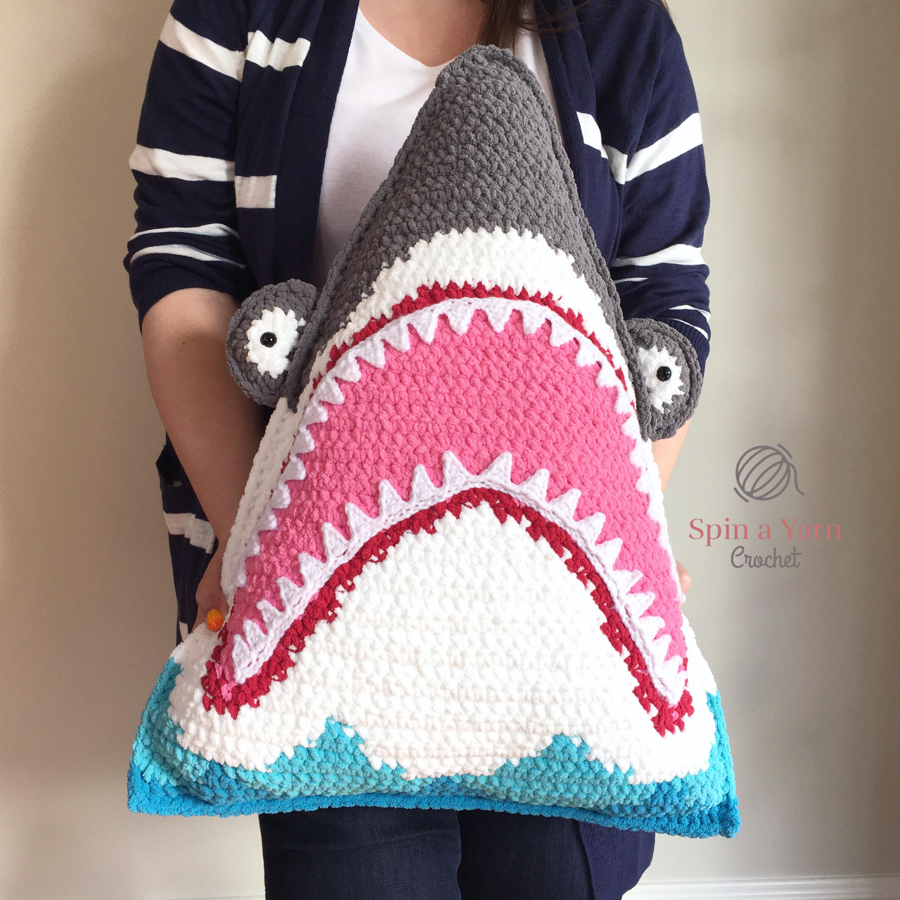 cff24046088 Shark Pillow Free Crochet Pattern • Spin a Yarn Crochet