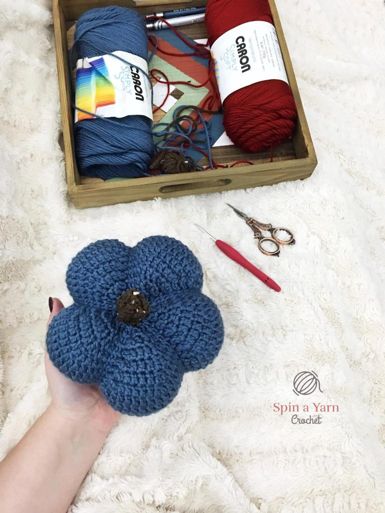 Finished crochet blue pumpkin
