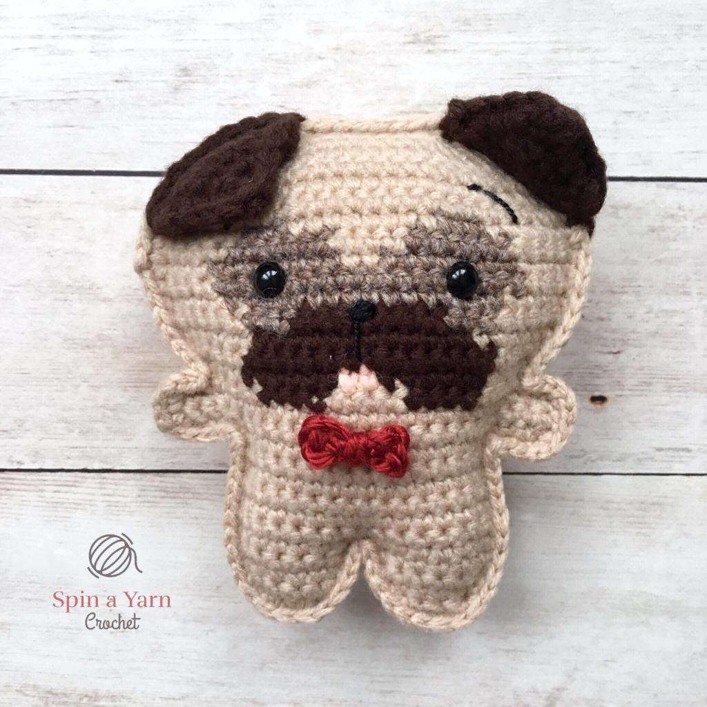 Crochet pug with one ear up