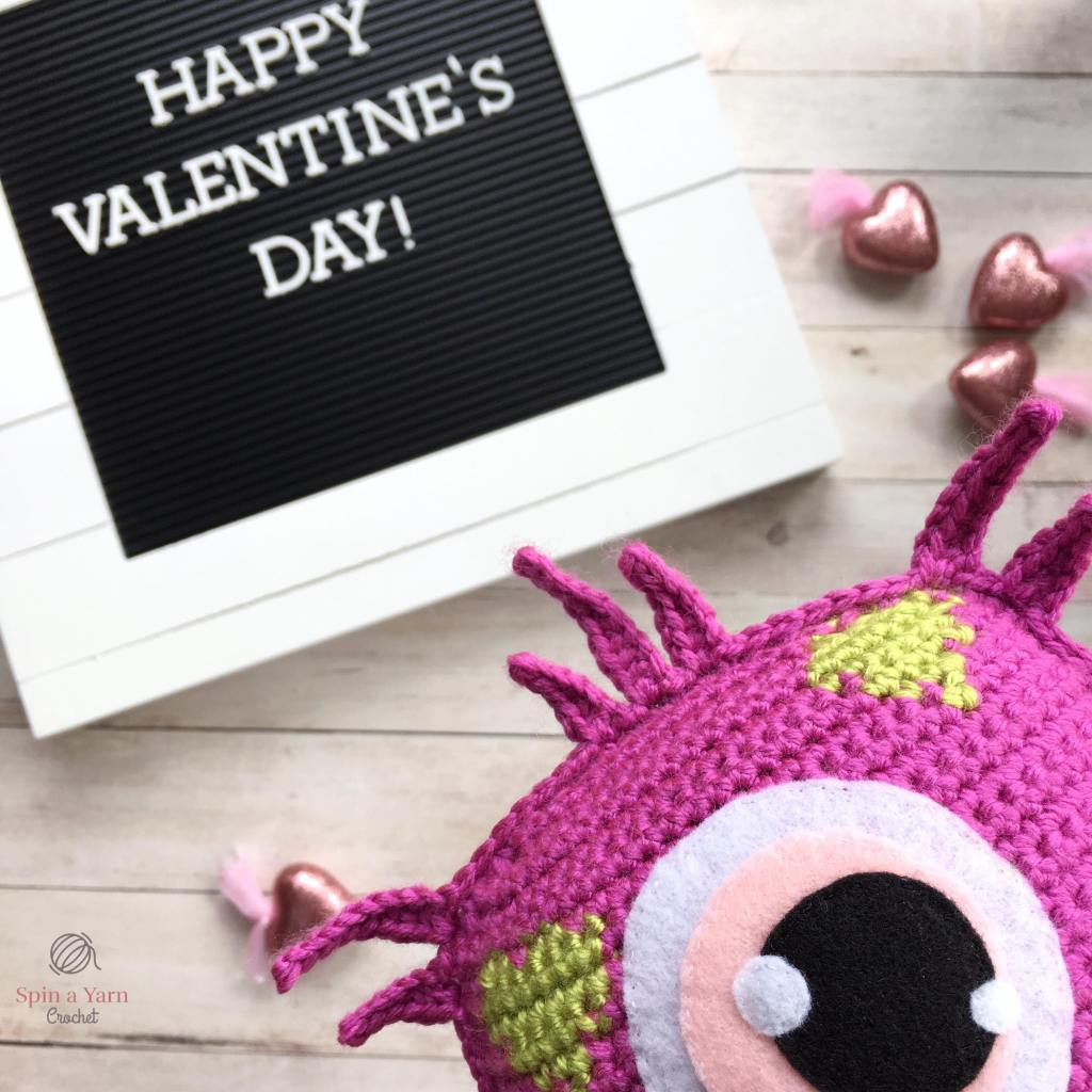 Blinky in front of Valentine's sign