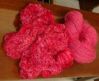 Camelspin in berry and my merino/silk, trying to match it