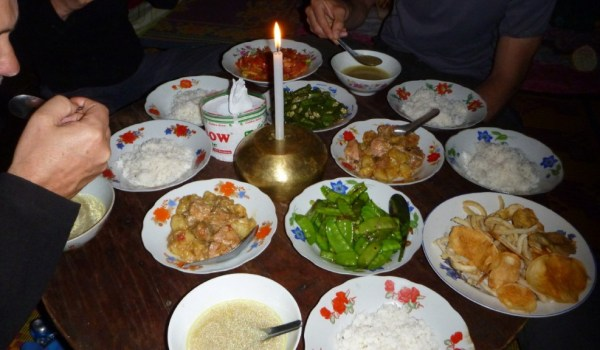 Myanmar trek evening meal