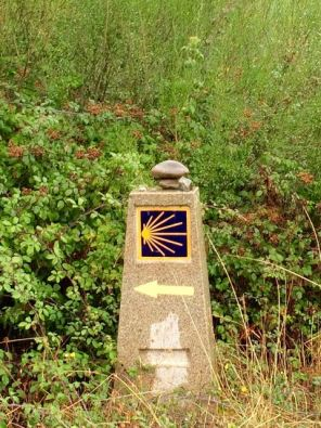 a marker for El Camino de Santiago (The Way)