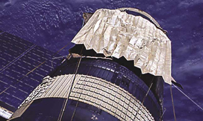 Picture of a sun shield on the exterior of the Sky lab space station
