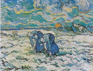 Van Gogh. Two Peasant Women Digging in a Snow-Covered Field at Sunset, 1890