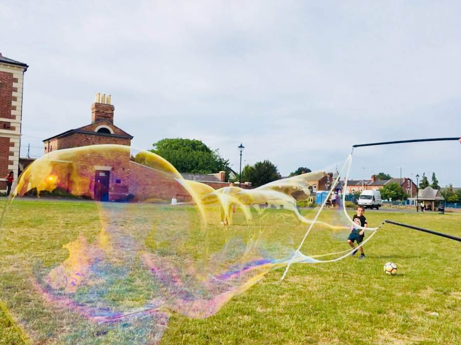 Giant bubble show
