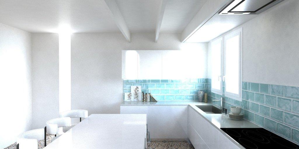 Render Cucina moderna americana parete in vetro diamantato verde 4 | SP Interior Design