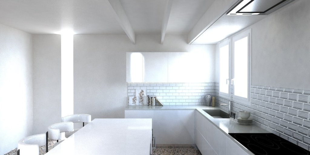 Render Cucina moderna americana parete in vetro diamantato bianco 4 | SP Interior Design