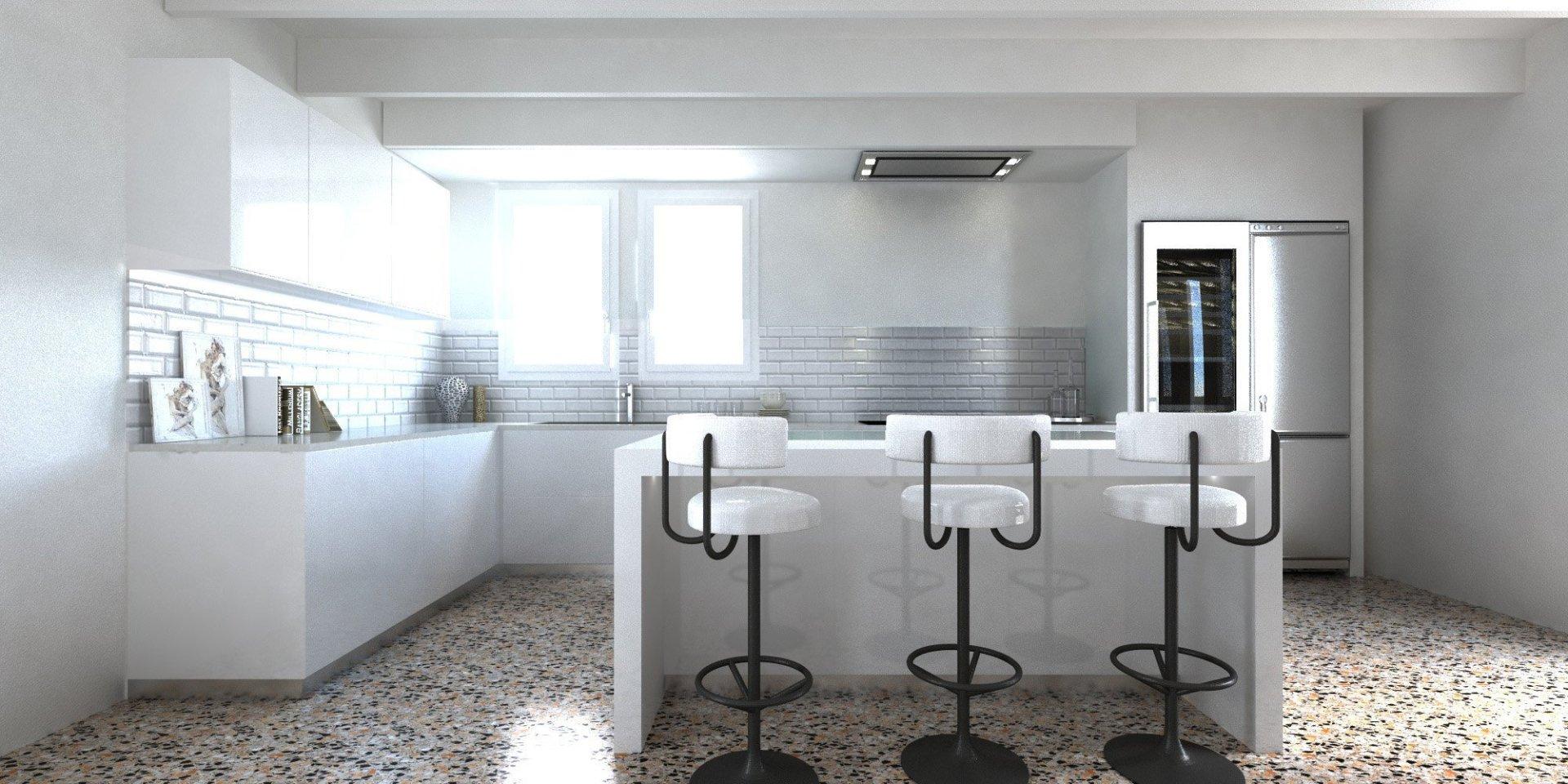 Render Cucina moderna americana parete in vetro diamantato bianco 1 | SP Interior Design