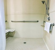 inaccessible roll in shower at Holiday Inn Express Jacksonville