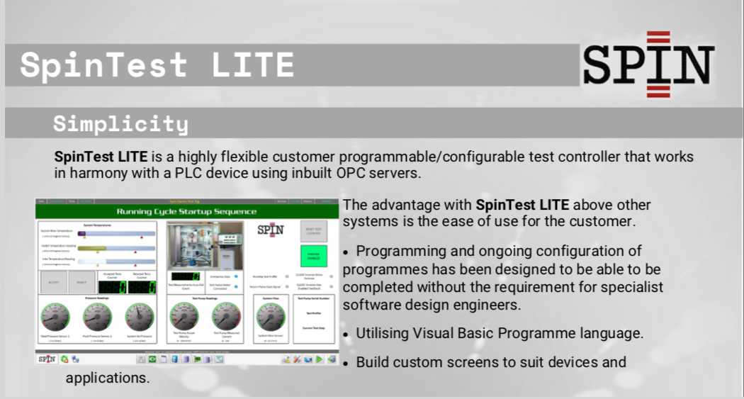 SpinTest Lite is a highly flexible customer programmable test controller