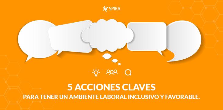 5 acciones claves en ambiente laboral inclusivo. Nubes y globos