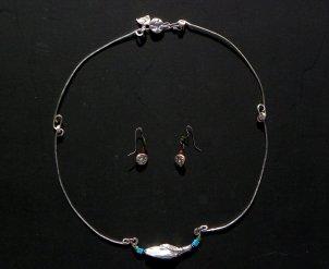 "P Nat Kirby ""Fallen Pods"" Silver necklace set"