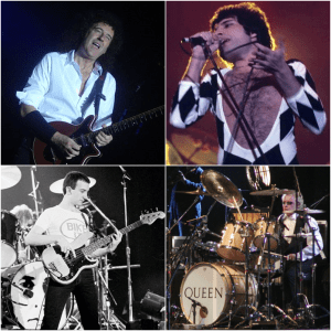 Compilation of the four members of Queen [Brian May (2008), Freddie Mercury (1977), John Deacon (1979), Roger Taylor (2005)]