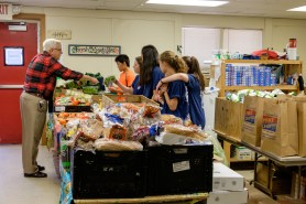 Preparing to open the food pantry, St. Paul's Episcopal Church, Kansas Image credit: Gary Allman