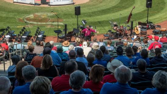 Presiding Bishop Michael Curry preaching at Hammons Field, Springfield. Sunday May 7, 2017. Image credit: Gary Allman