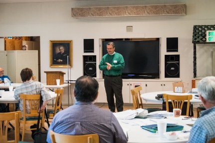 keynote Speaker, Fr. Brian McVey, talks about his work with the victims of human trafficking. Image credit: Gary Allman