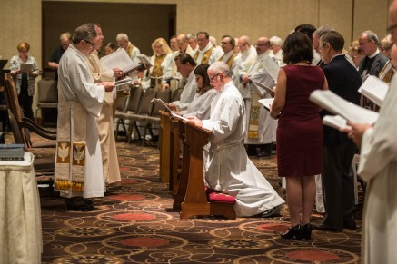 Convention Eucharist and the ordination of Karen Mann and Lawrence Ehren to the Sacred Order of Deacons, and the reception of Jonathan Callison to the Sacred Order of Presbyters. Image credit: Gary Zumwalt